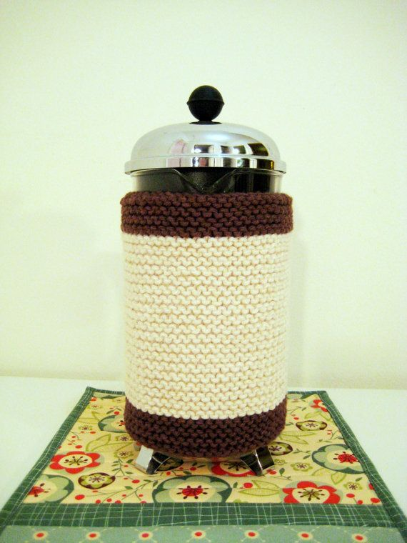 French Press Coffee Cozy  Contemporary Soft by CozyKitchenKnits