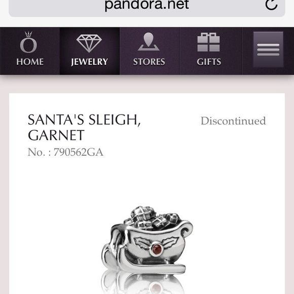 Authentic Pandora Discont. Sleigh Garnet Charm Get your discontinued Christmas charm of Santa's Sleigh in Sterling Silver Oxidised metal with Garnet stone, Pandora retailers no longer carry this beauty! My bracelet was worn minimally and has been in original packaging ever since. Feel free to ask about other charms as well! Pandora Jewelry Bracelets