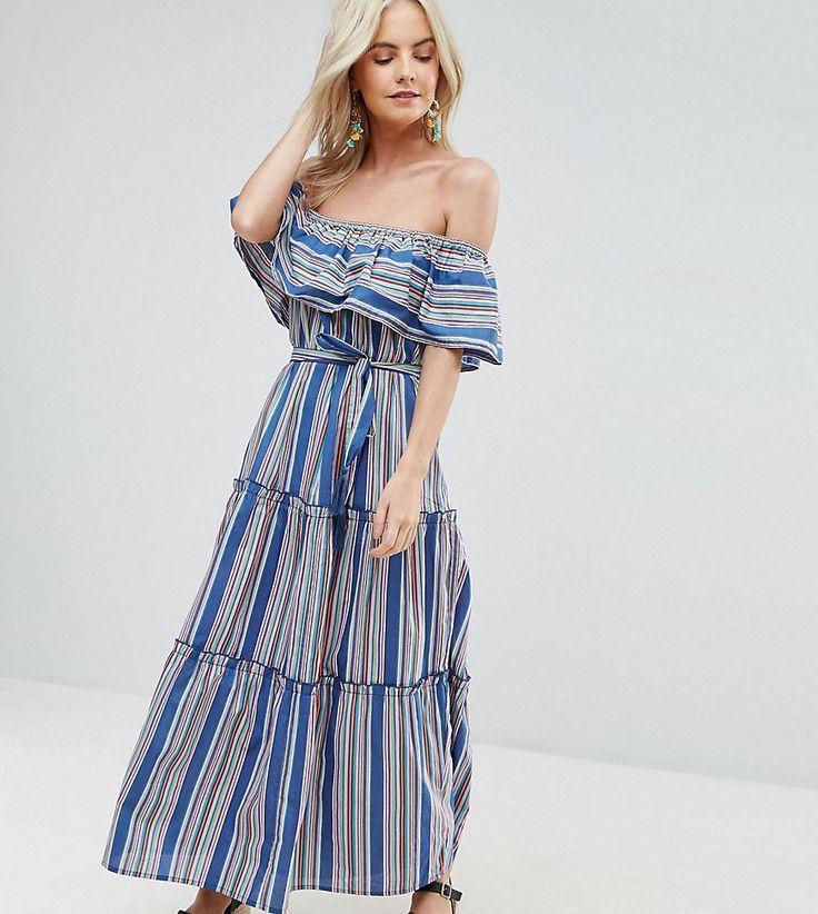 ASOS PETITE Off Shoulder Maxi Dress in Bright Stripe - Multi