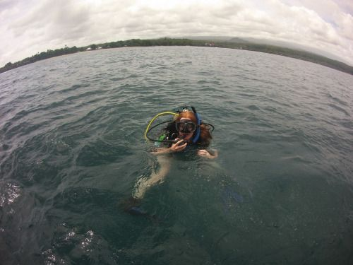 Samoa Diving Holiday - Diving in my lavalava on my 100th dive!