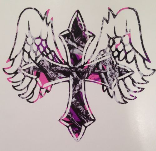 Muddy Girl Pink Camo Angel Cross Truck Vinyl Decal 5
