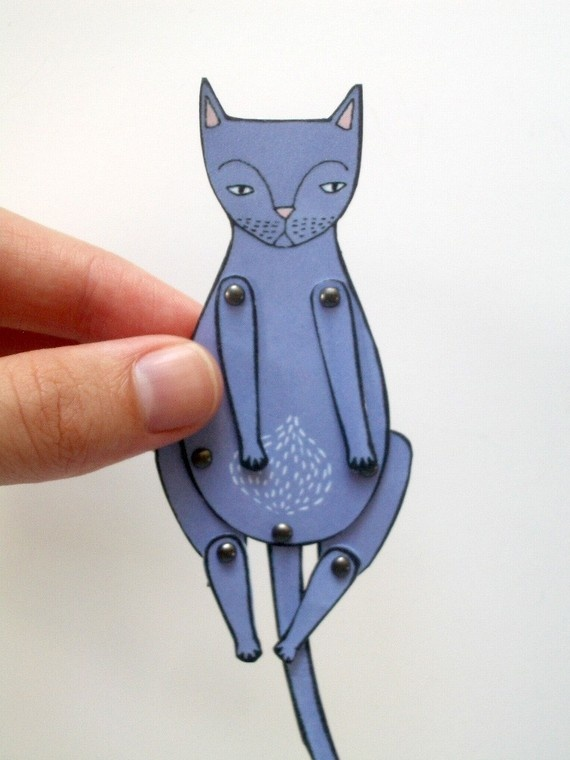 Would be cute made in clay or shrink plastic.  ~ kitty cat moveable paper doll violet by JordanGraceOwens ..CUTE...