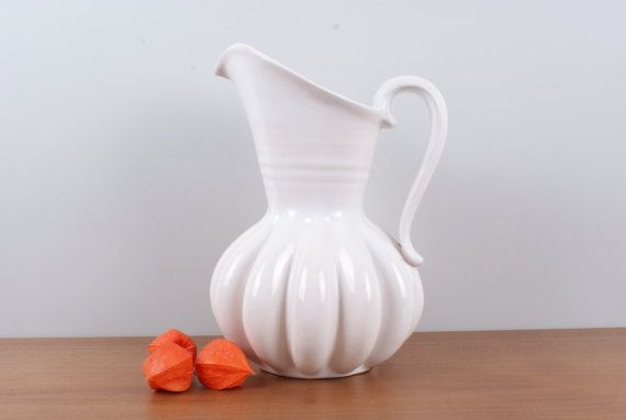 Large white Pitcher vase shaped as a pumpkin by Danishartpottery