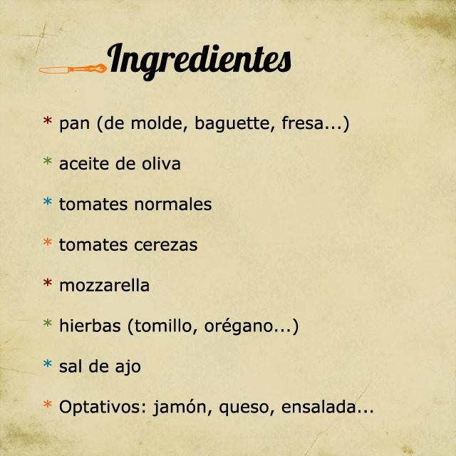 Les ingrédients de la bruschetta