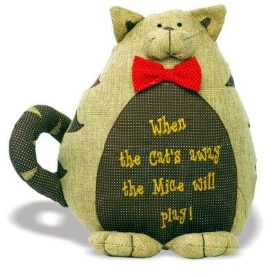 Cute Fat Cat Door Stop 'When the cat's away the mice will play!' Red Bow Tie Embroidered Text www.prettymaison.co.uk 01353 665141
