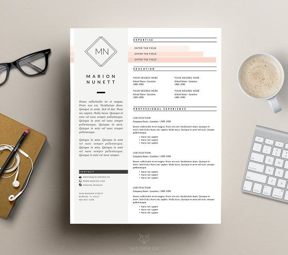 2 Page Resume Template for MS Word by This Paper Fox on @creativemarket