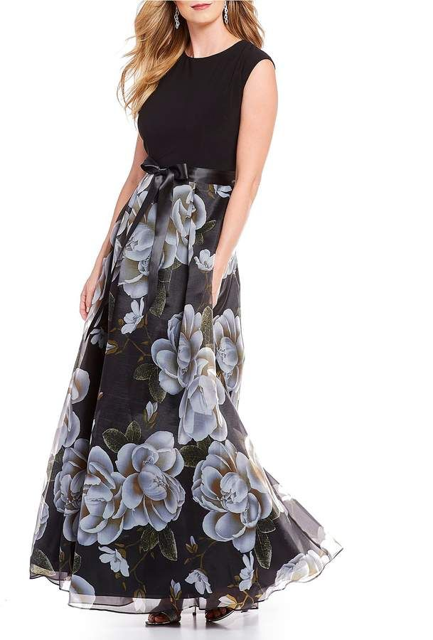 2cef4bb46d5 Ignite Evenings Cap Sleeve Satin Belt Floral Print Organza Ballgown   belt satin sleeve