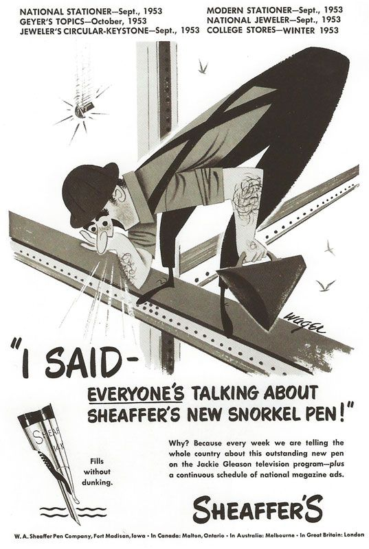 Advert for Sheaffer's snorkle pen