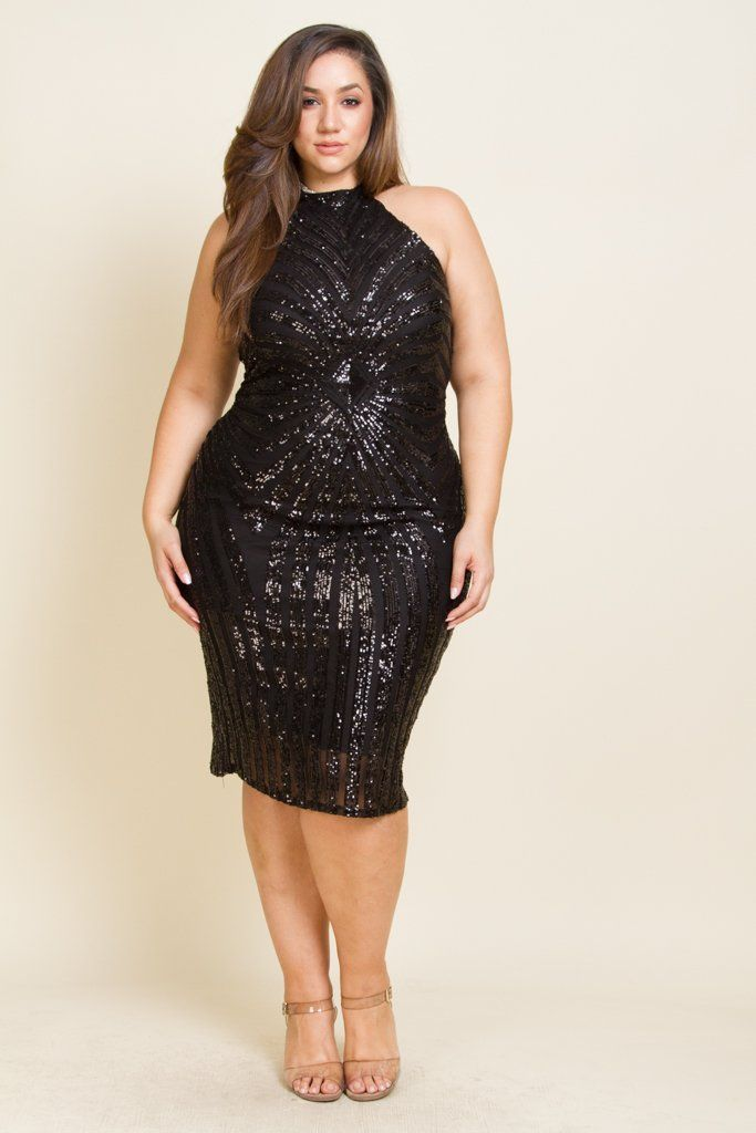 Plus Size Diamond Sequin Dress in 2019 | Plus size black ...