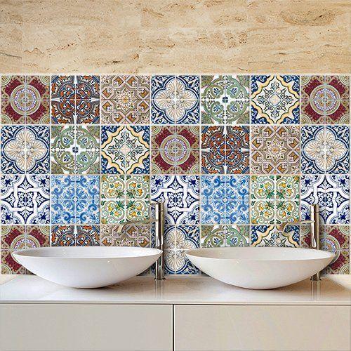 Adesivo per piastrelle wall art decori creativi di vietri for Stickers per mattonelle bagno