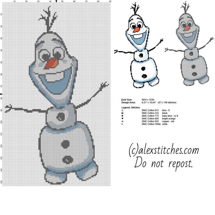 Olaf Disney Frozen snowman character free pattern (90x153)
