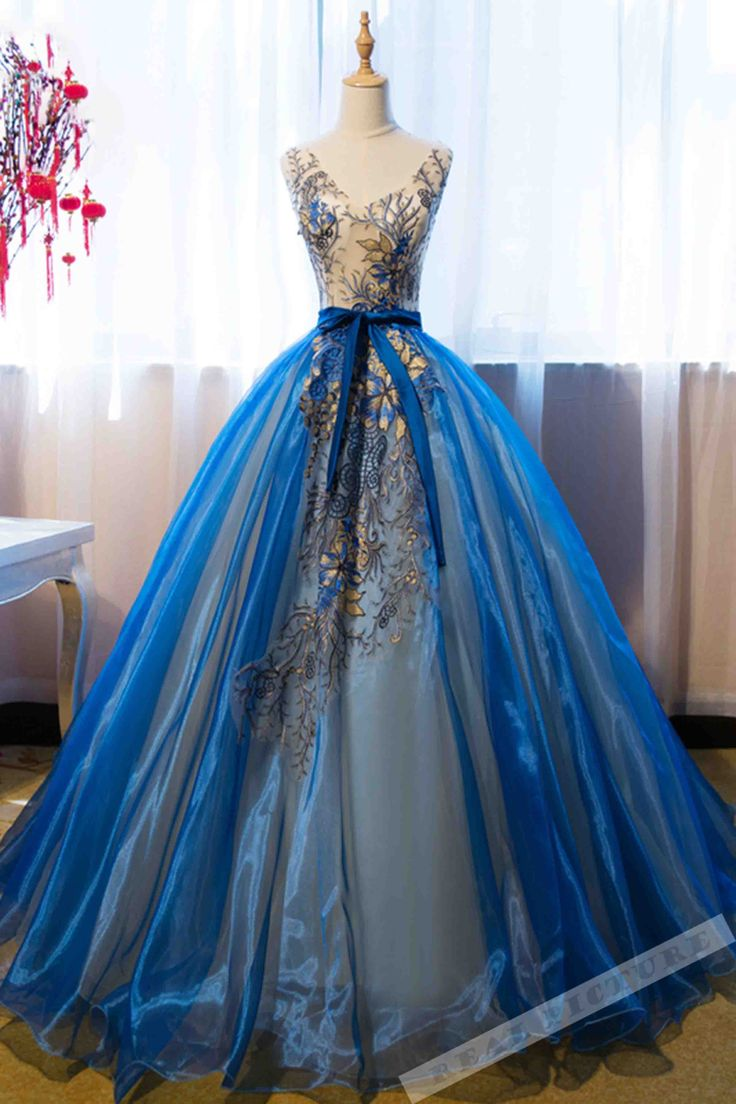 Appliqued blue organza prom dress, ball gown, beautiful poofy prom dress for teens