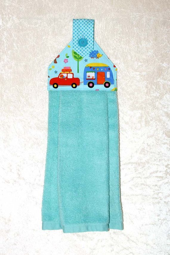 Hanging Kitchen Towel • Hanging Hand Towel • Blue Tea Towel • Turquoise Camping Towel • Vintage Camper Trailer • Glamping Decor • Scamp RV