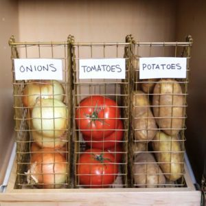 Cute way to visibly store our veggies so we actually see and USE them before they go bad. :)