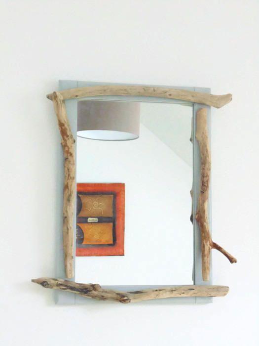 Miroir bois flotté 37 x 51.5 cm création unique