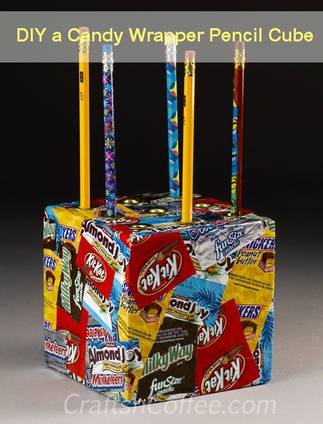 DIY a pencil cube using recycled candy wrappers and a Styrofoam cube