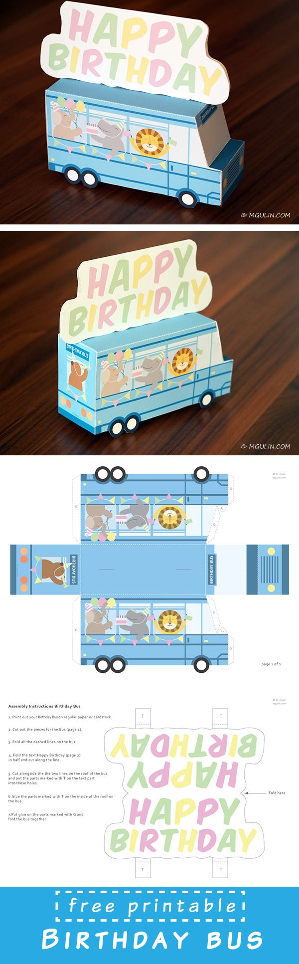 Free Birthday Bus printable. Dowload template. Just print, cut out and put the it  together!