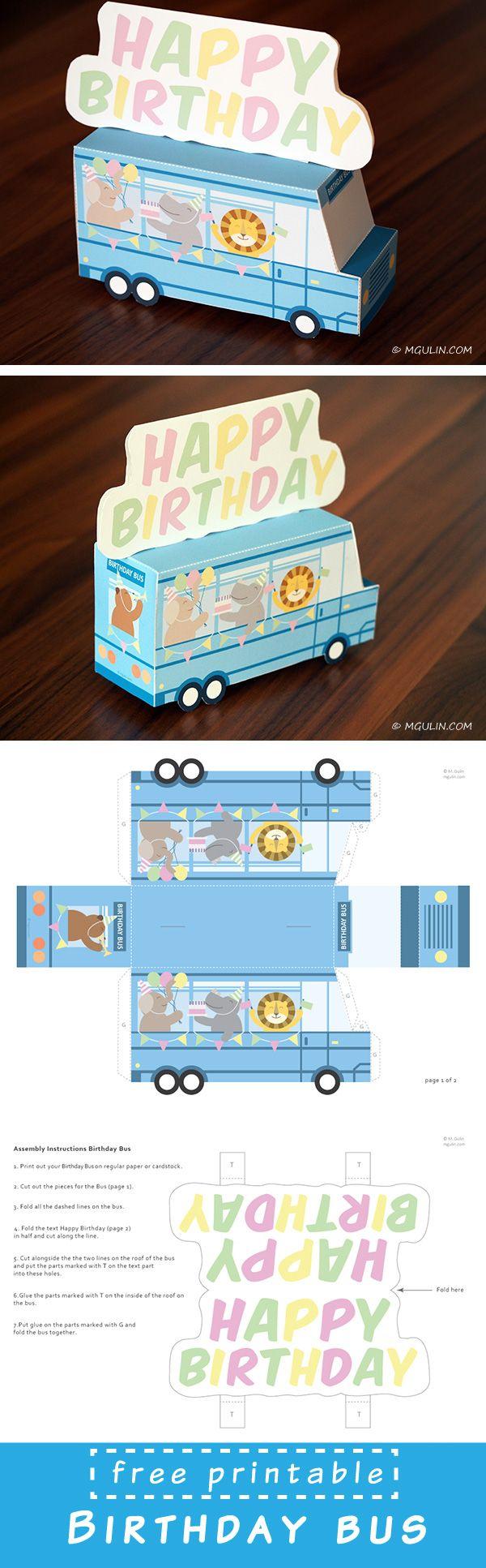 Plantilla para crear autobus-felicitación <3 // Free Birthday Bus printable…