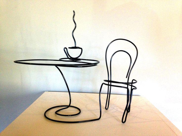 Café dreaming - wire art by Steve Lohman