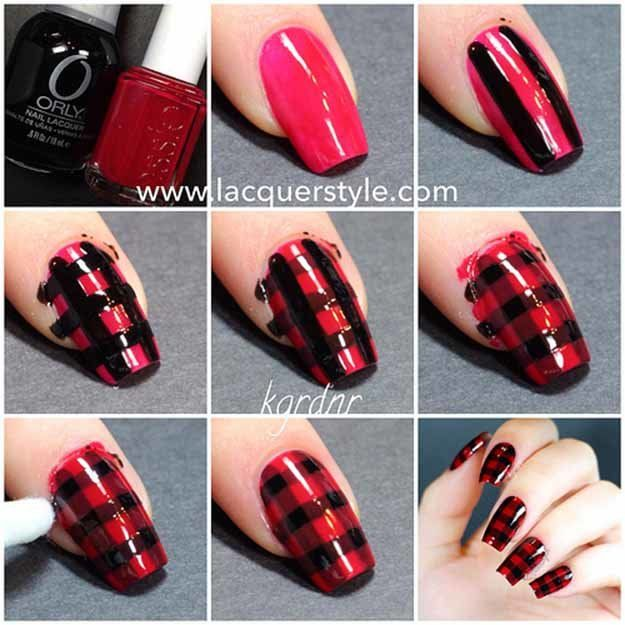 Red and Black Plaid Tutorial | Cool and Easy Nail Art and Designs by Makeup Tuto…