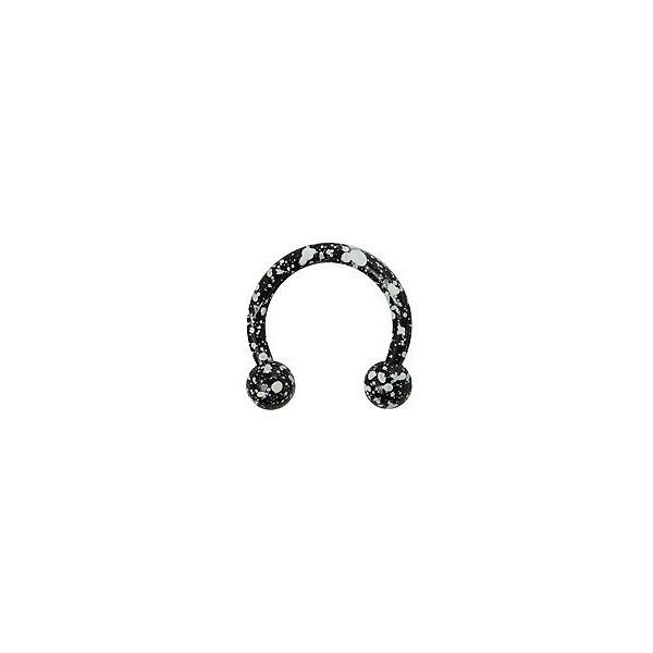 "14G Steel 3/8"" Black & White Splatter Circular Barbell 