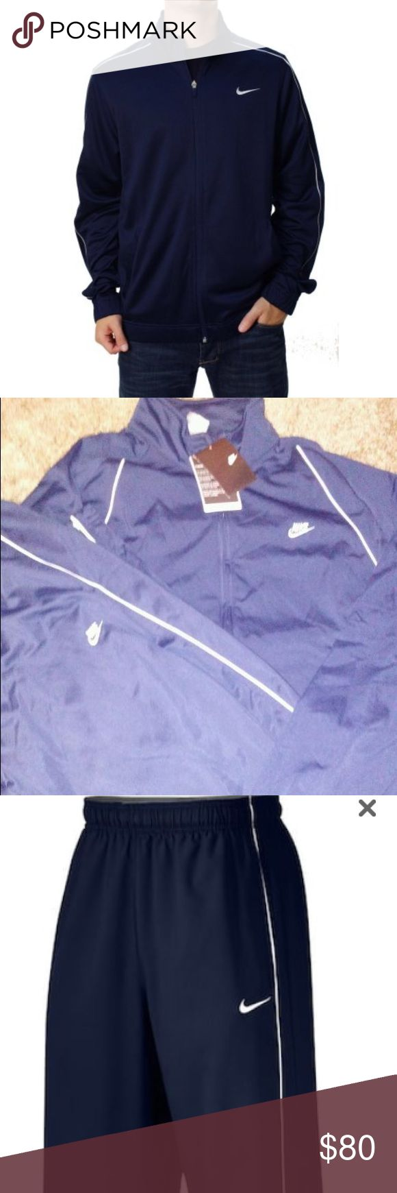 Dark Blue and white Mens Nike Sweatsuit. BNWT The Nike Team Woven Sweatsuit  is the perfect fit, with contrast color piping on side panel seam, makes for a great look. The body is Dri-FIT®, 160g 100% polyester plain twill. While the mesh is Dri-FIT®, 82g 100% Polyester (100% recycled) warp knit. Features an Everquick Dry Moisture Management Finish to wick away sweat in order to keep you cool and dry when things heat up. Side seam pockets and leg zips for comfort. Embroidered Swoosh design…