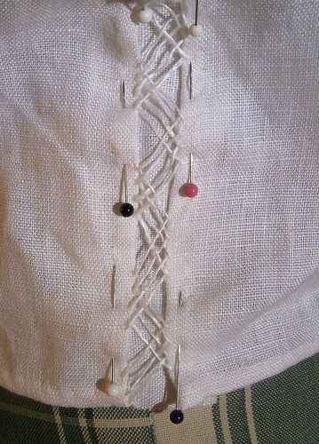 Four Passes of the Herringboine Insertion Stitch