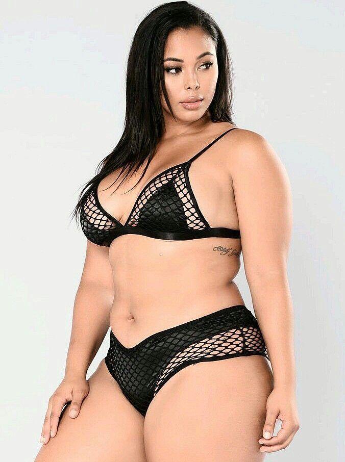 7a60b89ee81 Image result for tabria majors lingerie Black Bikini, Fishnet Bikini, Plus  Swimwear, Curvy
