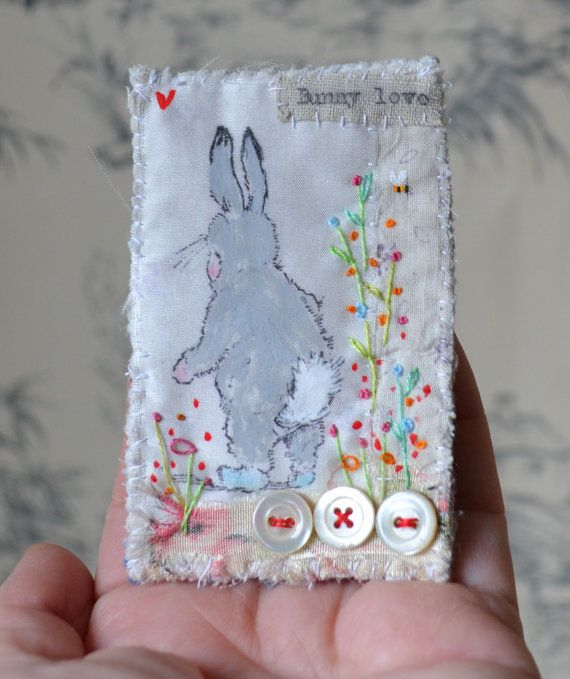 BROOCH : PIN Textile collage fiber .. Hand by hensteeth on Etsy