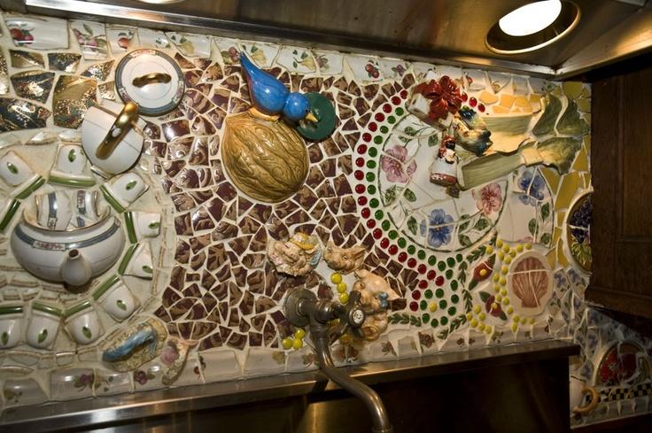 Broken dishes backsplash  Kitchens  Mosaic tile designs