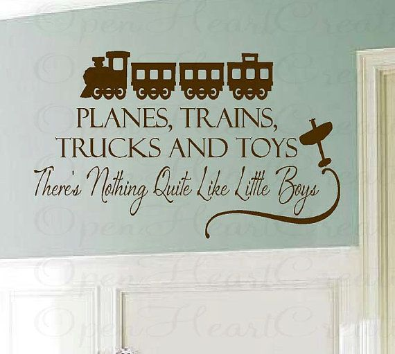 Boy Wall Decal Saying - Planes Trains Trucks and Toys Vinyl Decal Quote for Playroom Bedroom Baby Nursery 22h x 36w BA0205