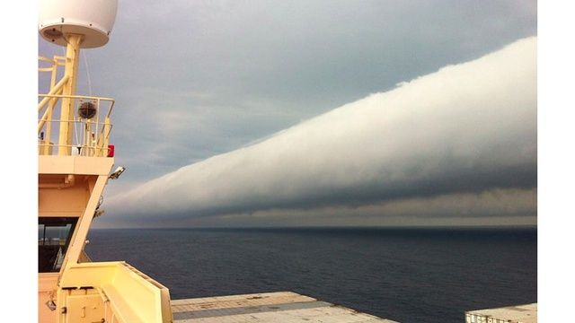 This is a tubular roll cloud off the coast of Brazil. It is some kind of stunning! Usually they precede a thunderstorm that occurs over the ocean. I wonder if I will see one of these in person!
