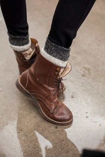 Shoes: boots brown lace up socks rock oxfords flats brogue cute combat boots brown boots winter