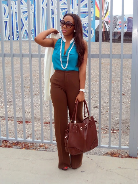 Super stylish!: Legs Trousers, Trousers Fashion, Style Inspiration, Brown Heels, Forever 21 Shoes, Chocolates Brown, Blazers, Bags, Baker