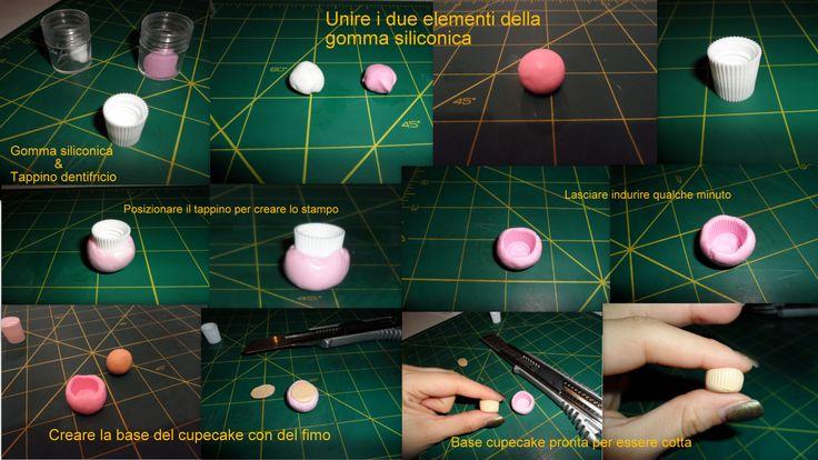 """Come creare uno stampino """"base cupecake"""" utilizzando la gomma siliconica e un tappino del dentifricio."""