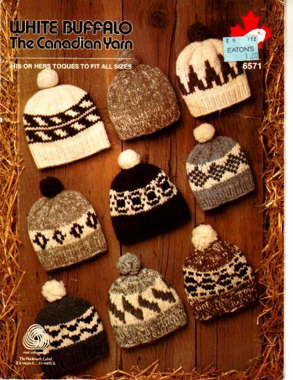 Buffalo toques, to fit all sizes. his or hers toques PDF Buffalo Knitting Patterns - buggsbooks.com