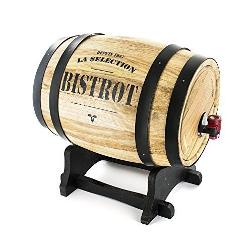 BISTROT KV7166 Distributeur à Vin Tonneau Bois Bordeaux/Gris/Noir 27 x 21,5 x 27,5 cm 3 L: Design traditionnel Facile d'utilisation…