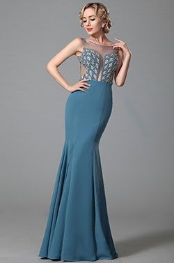 Stunning Sleeveless Beaded Bodice Evening Dress Prom Gown (02153032) - EUR 199.99