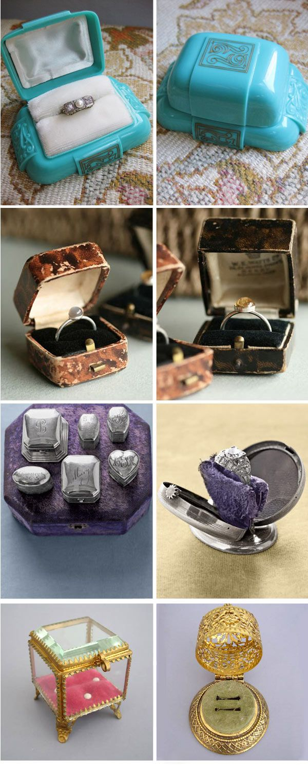 A great assortment of vintage ring boxes!