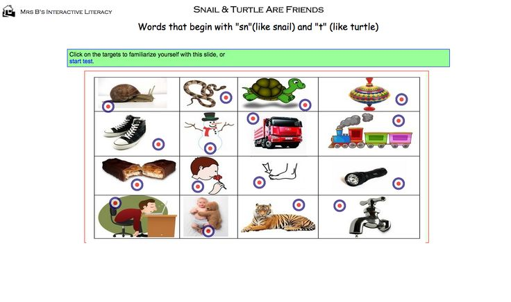"Snail and Turtle are Friends. Words that begin with ""sn"" and ""t"" online activity. http://members.ozemail.com.au/~irenelesley/public_html/Snail%20and%20Turtle%20Vocab.html"