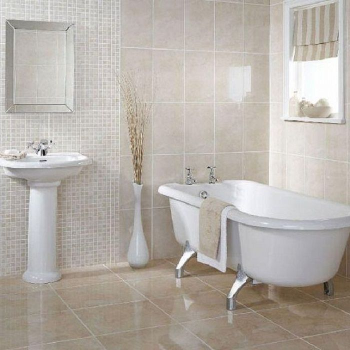 Wall of tile megans house pinterest small white for Small bathroom tiles