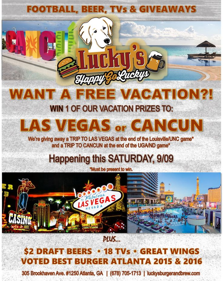 This Saturday 9/9, you could win one of 2 FREE VACATIONS to Las Vegas or Cancun!🌴✈️    Trips will be given away at the end of  the Louisville/ UNC game & UGA/ND game. You must be present to win.  Come watch with us on 18 Big Screens, and enjoy one of our award winning burgers or huge wings, full bar and over 100 beers on tap!