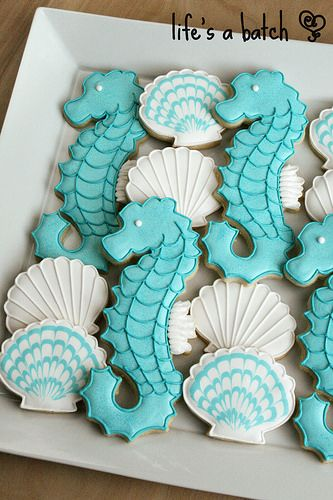Seahorse & Seashell cookies.  Quinn, we need these!!