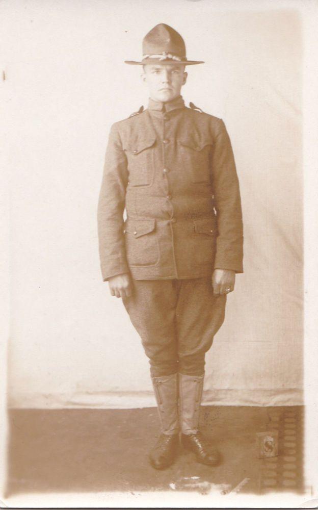 "Real Photo Postcard WW1 Soldier Man Military Uniform RPPC ""Happy Hollow Studio"""