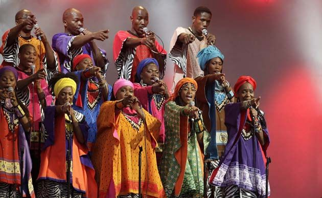Arts: This image shows a Choir in South Africa. Choirs are common and traditional folk songs have been integrated into choral music. Kwaito is one of South Africa's favorites and they mix African melodies and lyrics. Some genres they use are jazz, blues, gospel, rock, pop, reggae, hip-hop, kwaito and many more.