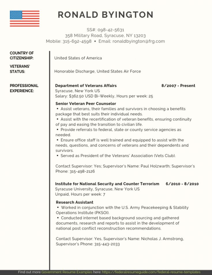 federal resume writers for veterans