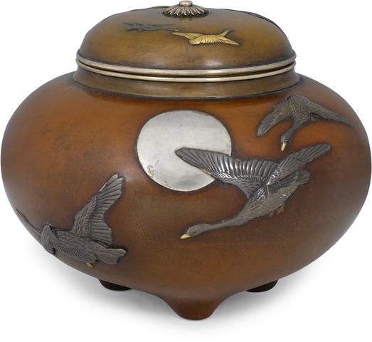 An inlaid bronze incense burner (koro) and cover Meiji period (late 19th century)