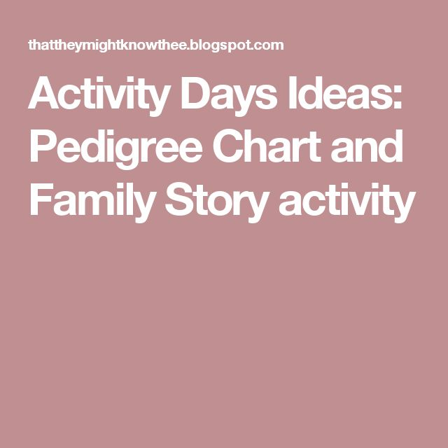 Activity Days Ideas: Pedigree Chart and Family Story activity                                                                                                                                                                                 More