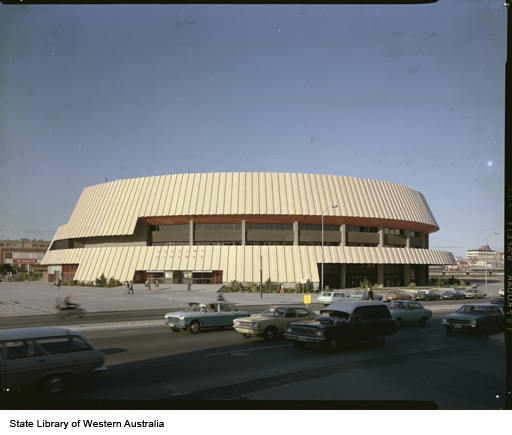 227321PD: Perth Entertainment Centre, 1975. Showing the entrance to Academy Cinemas