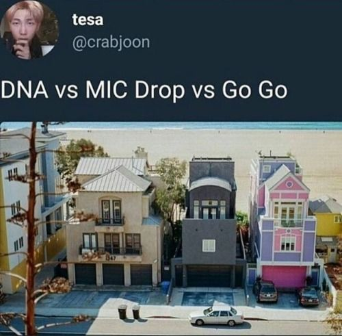 V's house, Suga's house and Jin's house but I can't pick between any song ever any group singer Korean singer or group or amarican singer all song I like are amazing